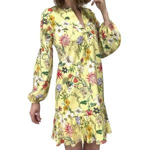 Parker Nola Floral Long Sleeve Ruffled Shift Dress